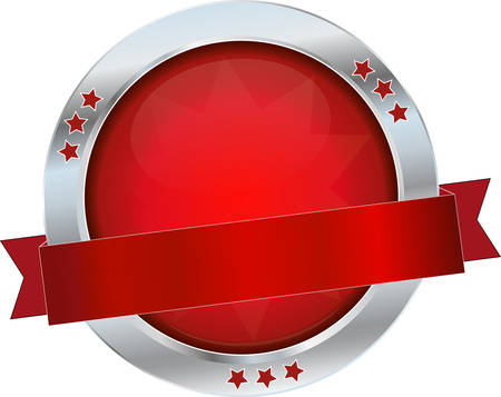 red glossy metallic button Vector