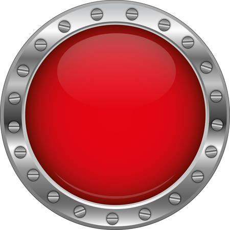 Bouton rouge métallique brillant Banque d'images - 30566470
