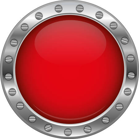 red glossy metallic button