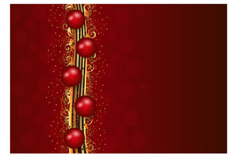 Christmas decoration in red and gold stripes Vector