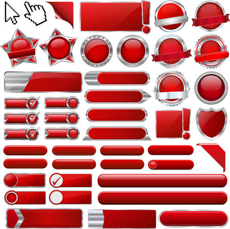 top 50 icon: collection of red buttons Illustration