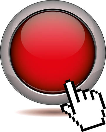 red button sign with clicking hand cursor Çizim