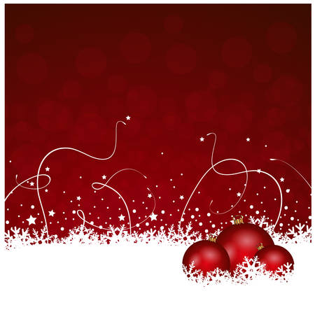 muted: red christmas baubles with snow ice decoration