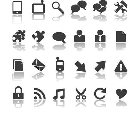 Collection d'icônes d'affaires noirs modernes Banque d'images - 31400407