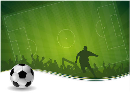 soccer fans: green yellow vector background with football player and ball