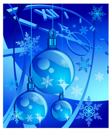 New years background with clock, baubles, vector illustration in blue Vector