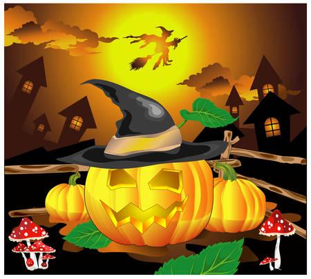 Halloween background, smiling pumpkin in hat against night city, vector illustration Vector
