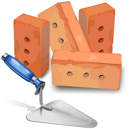 Tool for laying and bricks for construction of new building, illustration Vector