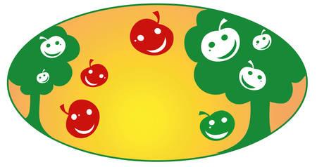 Apple garden animated, fruit background, vector illustration Vector
