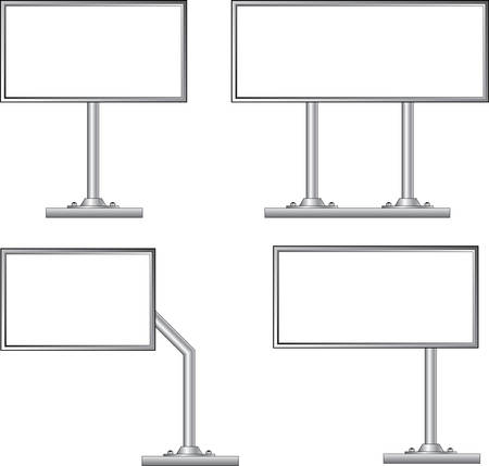 advertising construction: View of blank highway billboard for advertising, construction, illustration