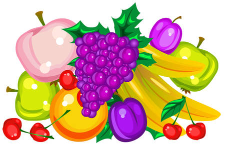 Variety of fresh colorful fruits, illustration, vector 向量圖像