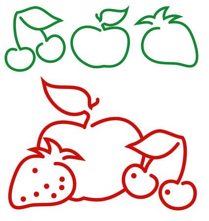 Frutas animadas contorno: manzana, fresa, cereza, ilustración vectorial Foto de archivo - 4431094