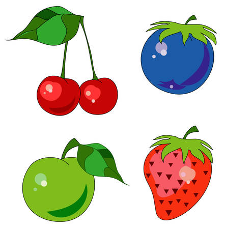 Colorful icons with different fruits: cherry, strawberry, plum, apple Vector