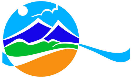 tourism logo: Vector abstract illustration landscape with sky, mountains, green end sand