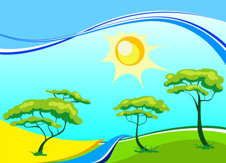 midday: Vector landscape with trees, sun, small river in bright paints