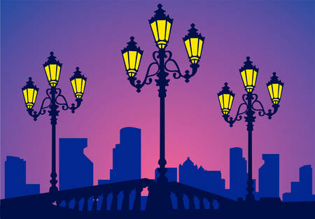 shone: Parkway in beams of a decline, quay with burning lanterns, vector Illustration