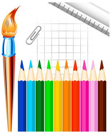 consider: Stationary, color pencil, brush, ruler, paper clip Illustration