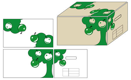 Illustrations for registration of container for fruit in different foreshortes Vector
