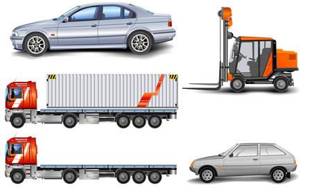 auto illustratie: Verschillende soorten machine: goederenlift, auto, vracht wagen, afbeelding