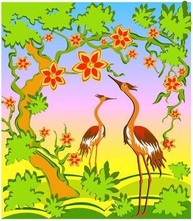 airone: Due aironi sotto un albero in fiore, un paesaggio in stile orientale