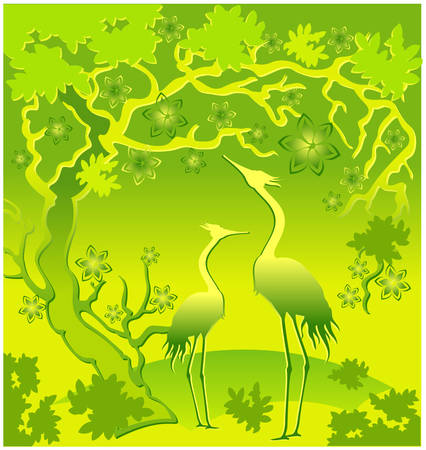 Two herons under a blossoming tree, a east landscape in green Vector