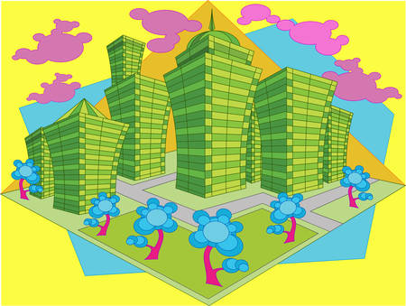 Area of city with high-altitude building and park, abstraction crossroads  Vector