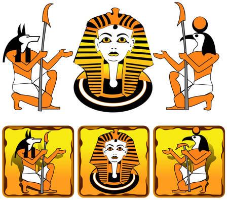 esfinge: Azulejos con la imagen de los antiguos dioses egipcios y personas de la Esfinge Vectores
