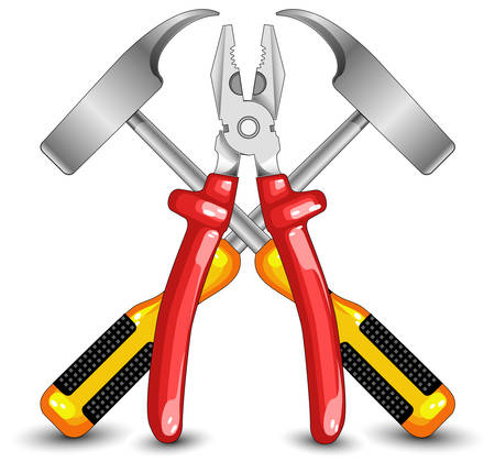 flatnose: Tooling for work, hammer and flat-nose pliers, construction, illustration Illustration