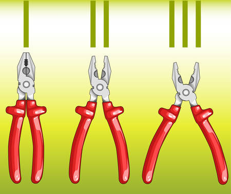 flatnose: Composition from three kinds of flat-nose pliers for civil work, illustration Illustration