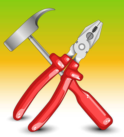 flatnose: Composition from hammer and flat-nose pliers with red handles for civil work Illustration