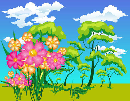 Vector landscape with trees, flowers, sun, small river in bright paints Vector