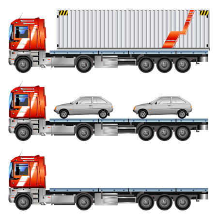 Vector grey car on trailer, transports machines, illustration