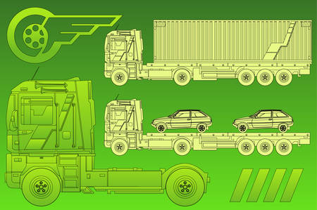 Vector car on trailer, transports machines, illustration in green Vector
