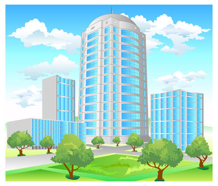 crossroads: Area of city with high-altitude building and park, crossroads, illustration