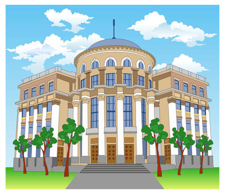 Big private residence on hill with beautiful nature, illustration Stock Vector - 4475194