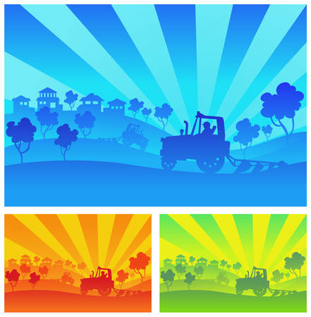 combinar: Maquinaria agrícola, un tractor, se combinan, de camiones en el campo
