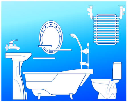 bath time: Bathroom with bath, shower, bowl, toilet, towel drying and mirror, illustration in blue