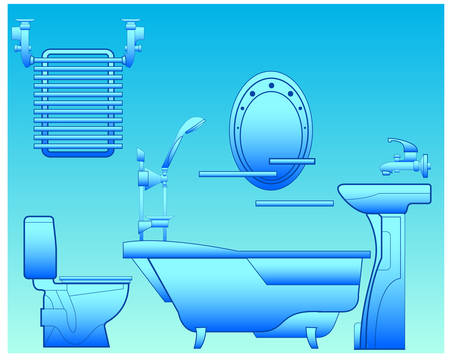 Bathroom with bath, shower, bowl, toilet, towel drying and mirror, illustration  Vector