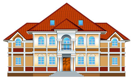 Country private residence, house with greater windows and red tile Stock Vector - 4483806