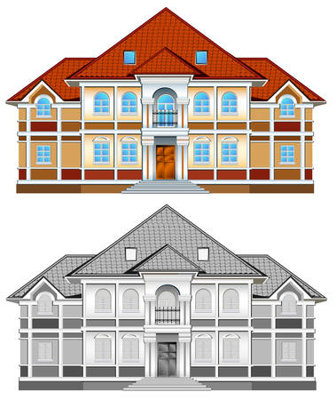 Drawing of country residence, two-storeyed house with greater windows, illustration Vector