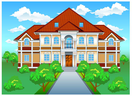Big private residence on hill with beautiful nature, illustration Stock Vector - 4483808