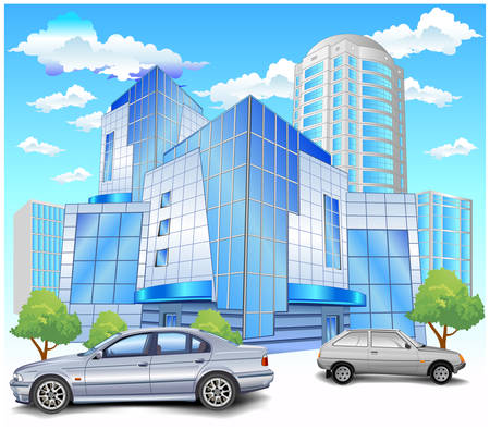specification: Conceptual image of office building and parking, vector illustration Illustration