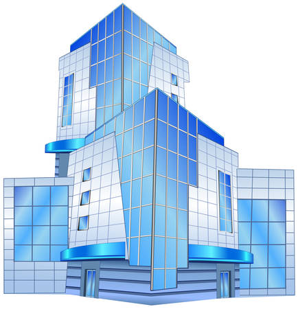 arquitecto: La imagen conceptual del edificio de oficinas, ilustraci�n vectorial