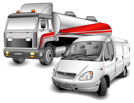 Car for transportation oil and minibus for passenger transportations, illustration Vector