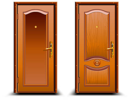 Door closed wood brown, classic design with lock, illustration Vector