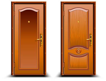 Door closed wood brown, classic design with lock, illustration