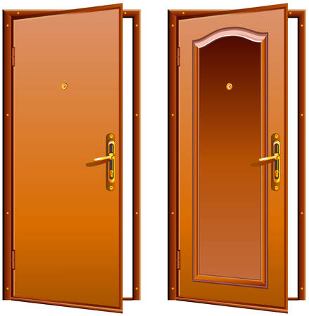 the ancient pass: Door opened wood brown, classic design with lock, illustration Illustration