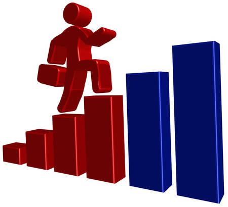 prospects: Businessman with portfolio goes on ladder, vector illustration for presentation