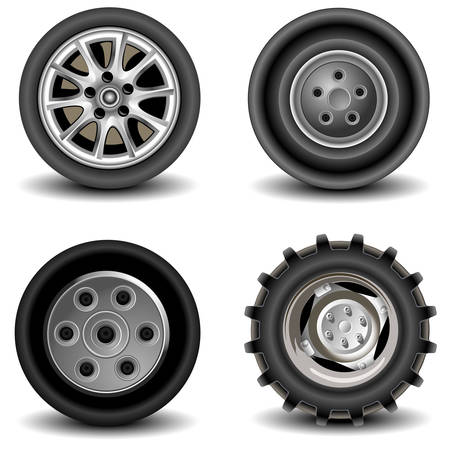 road surface: Four wheels of different kinds to vehicles, machines, car, a vector an illustration