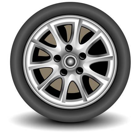 cerchione: Auto ruota in dettagli su sfondo bianco con ombra, vettore, illustrazione Vettoriali